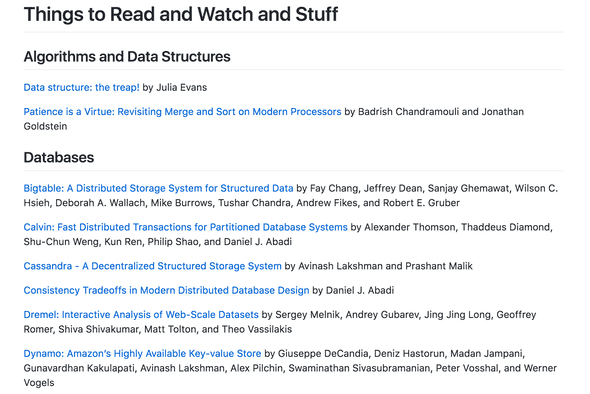 a big list of things to read and watch